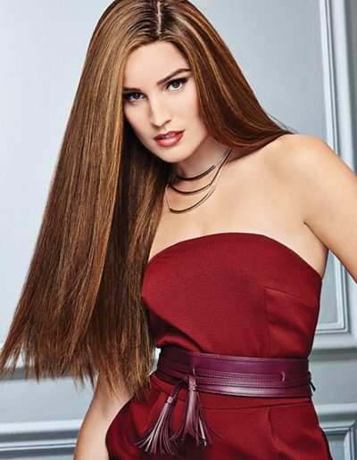 Long Straight Dark Highlighted Hair Woman Raquel Couture